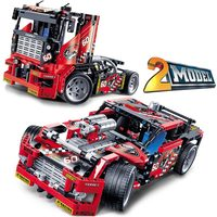 608pcs Race Truck Car 2 In 1 Transformable Model Building Block Sets Decool Technic 3360 DIY