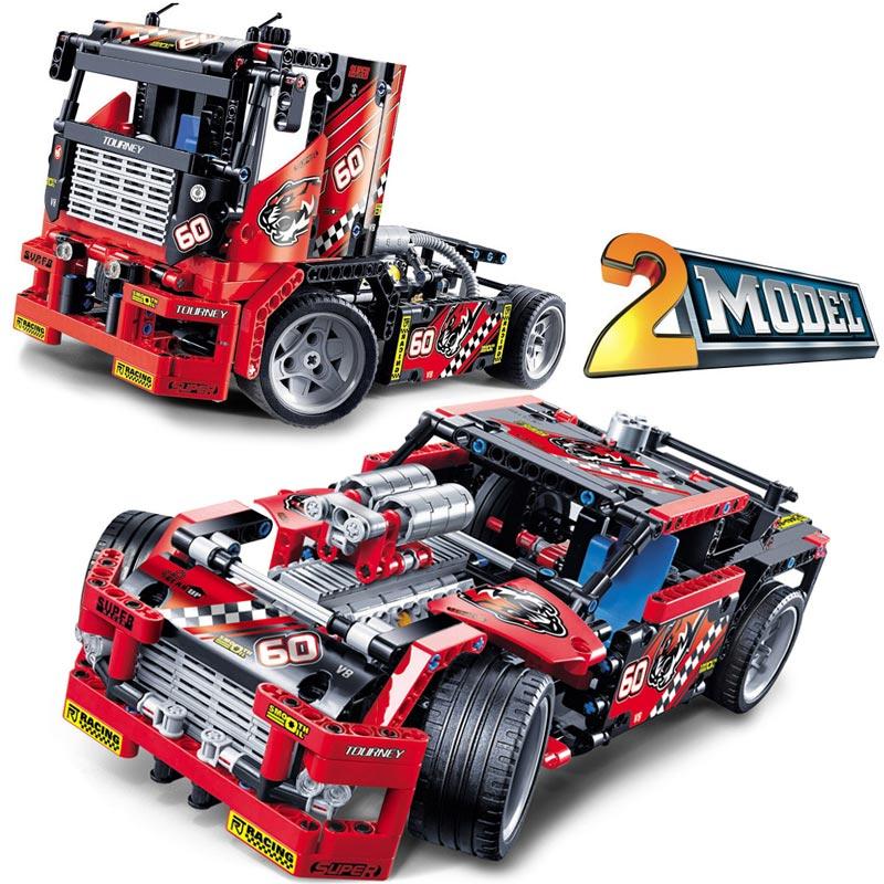 608pcs Race Truck Car 2 In 1 Transformable Model Building Block Sets Decool Technic DIY Toys For Children Compatible Legoings