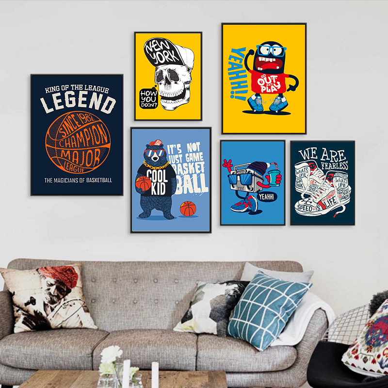 COLORFULBOY Basketball Bear Fans Canvas Painting Wall Art Print Canvas Poster Pop Art Cartoon Wall Pictures For Living Room