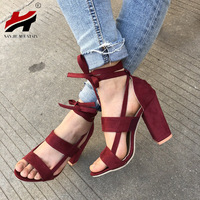 2018 Explosion Models Europe And America Cross Straps High Heeled Thick With Foreign Trade Large Yard