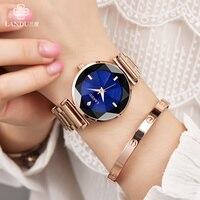 New Brand Charm Bright Sky Quartz Wristwatches Women Ladies Watch Stainless Steel Female Wedding Party Waterproof Watches