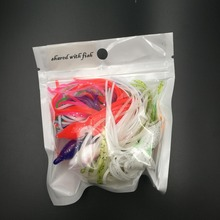 10pcs/lot 10cm  octopus lure,squid jigs fishing lure soft lure sea fishing salt water big game bait skirt Mixed Color