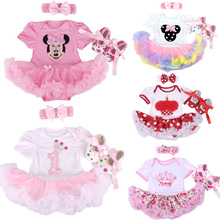 Christmas Baby Girl Infant 3pcs Clothing Sets Suit Princess Tutu Romper Dress/Jumpsuit Xmas Bebe Party Birthday Costumes Vestido