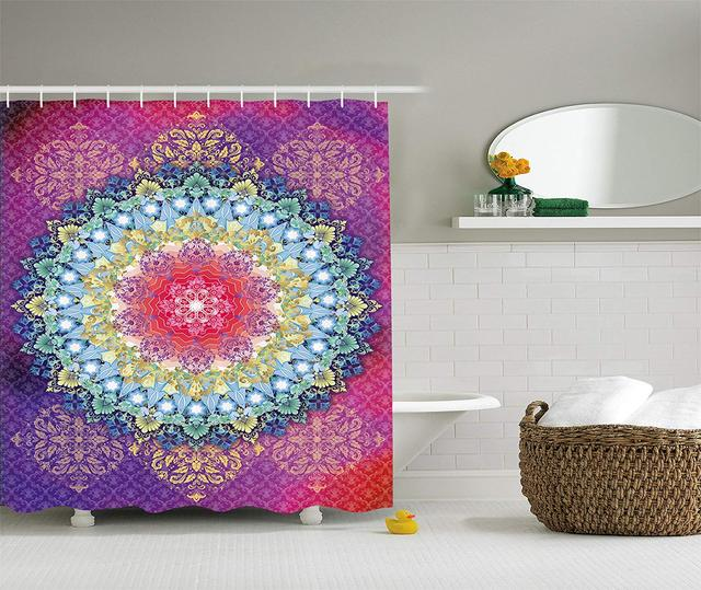 US $18 35 |Shower Curtain Set Psychedelic Decor by Pink and Purple Magical  Circle Dream World Four Elements Symbols Peace Print-in Mat from Home &