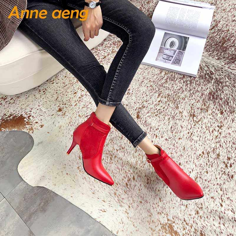 2019 yeni bahar sonbahar kadın ayakkabı yüksek ince topuklu bayan yarım çizmeler sivri burun zarif kırmızı kadın ofis çizmeler büyük boy 33-46