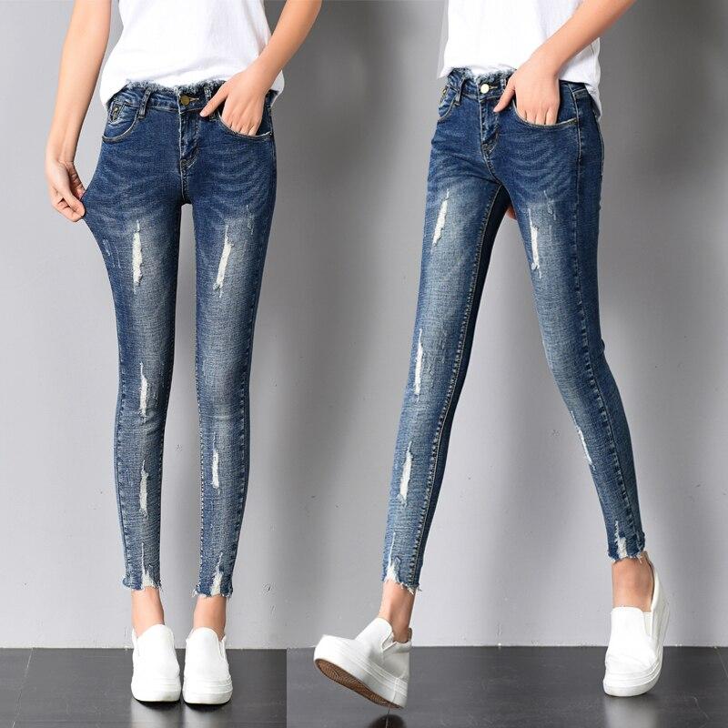 New Women Stretch Elastic High Waist Femme Sexy Broken Torn Ripped Jeans Skinny Woman Pants Women's Trousers Cheap Wholesale