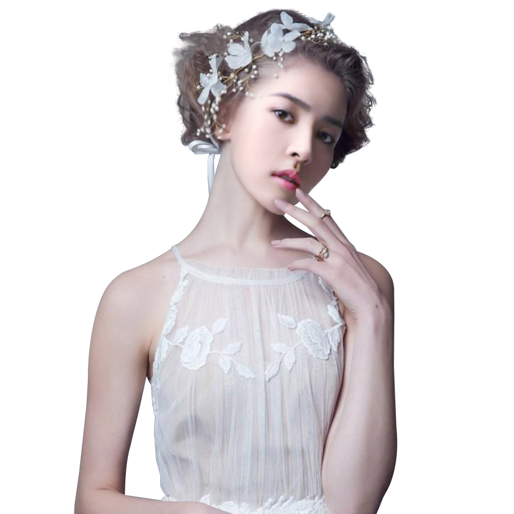Wedding Hair Accessories For Bridal Lace Flowers Crystal Pearl ...