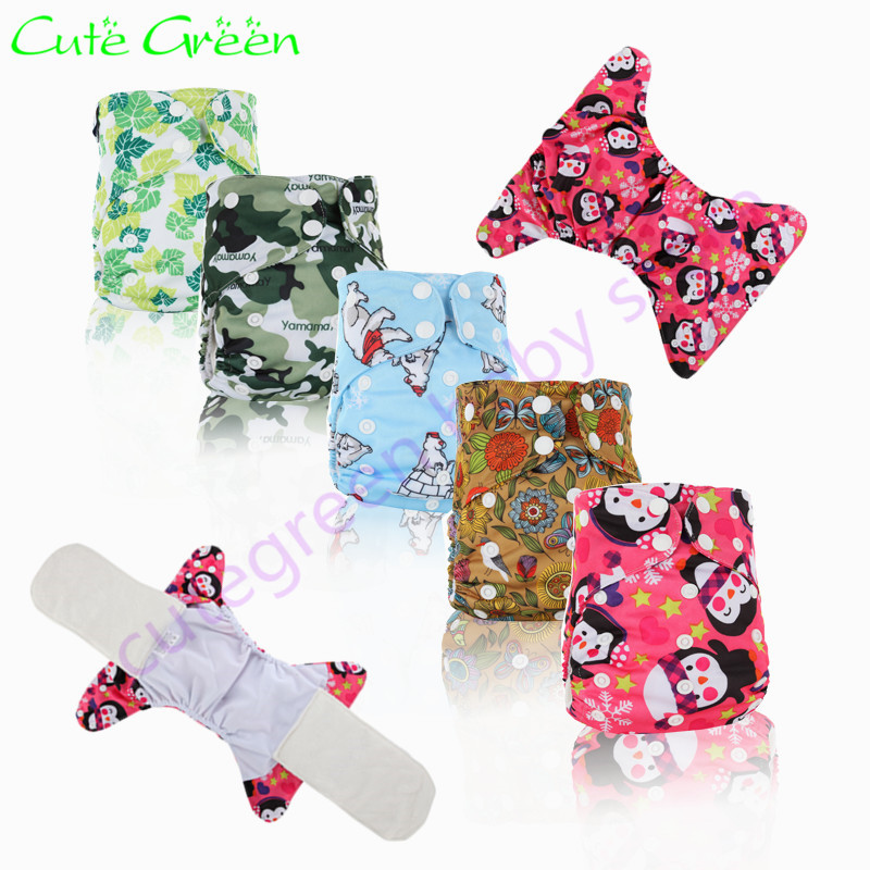 3pcs print pattern reusable all in one cloth nappy with bamboo insert liner; free shipping waterproof PUL baby AIO cloth diaper