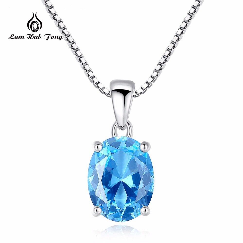 2018 Oval Natürliche Paris Sky Blue Topas 925 Sterling Silber Anhänger Halskette Für Frauen Blau Edelstein Hochzeit Edlen Schmuck Chinesische Aromen Besitzen