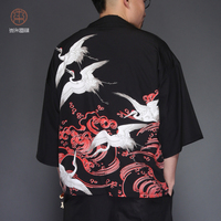 printing streetwear casual Plus Size Men's Chinese Style Summer Embroidered Short Sleeve Jackets Male Kimono Cardigan Coat