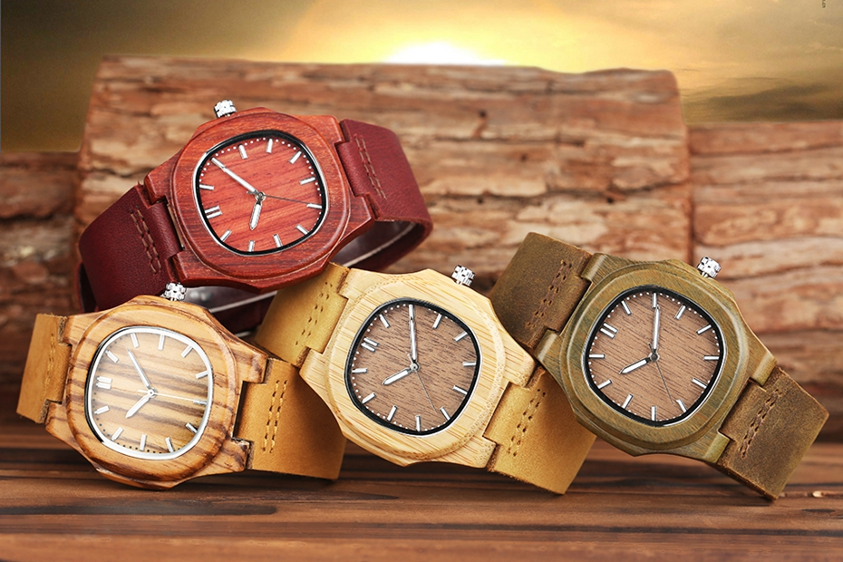 2017 New arrivals Wood Watch Natural Light Wooden Face Fashion Genuine Leather Bangle Unisex Gifts for Men Women Reloj de madera Christmas Gifts (13)