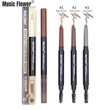 Brand Music Flower Women Eye Brow Pen & Brush Tool Makeup Set Professional Eyes Make Up Matte Eyebrow Pencil 3 Color