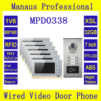 Six 7 Inch Memory Monitors Multi Apartments Building Intercom System Video Door Phone Support 32G TF