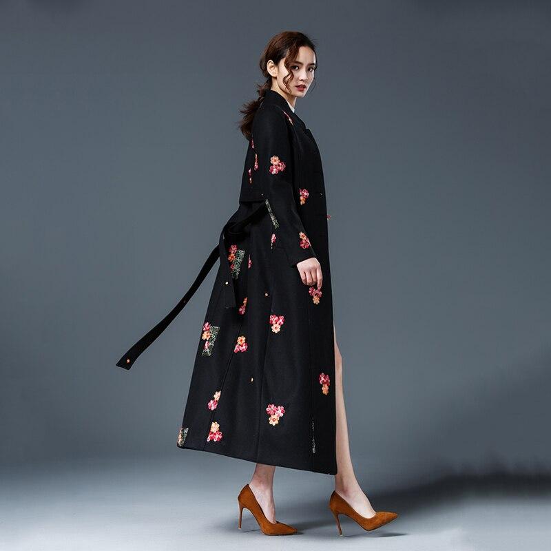 Mujer Femmes Survêtement Taille Rétro N308 Grey Laine Haute elegant Grande Black Mince 2018 De Hiver Nouvelles Qualité Long Mode Abrigo Manteau Broderie Automne pXUqpd