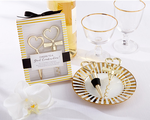 DHL 120pcs=60Sets/lot Gold Cheers to a Great Combination Wine Set Heart Wine Stopper Corkscrew Wedding Favors Party Gifts