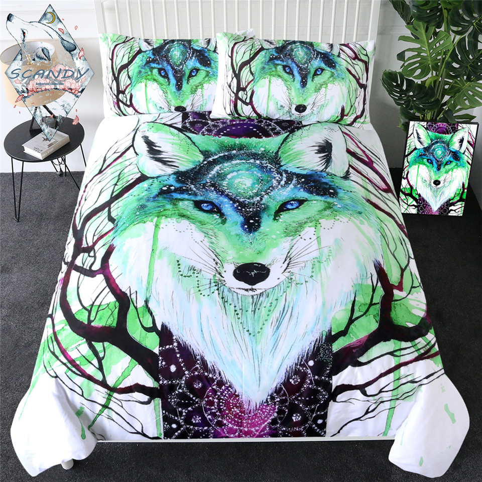 Fox Galaxy By Scandy Girl Bedding Set Watercolor Animal Quilt Cover Dreamcatcher Bed Cover Branches Green Bedclothes 3-Piece