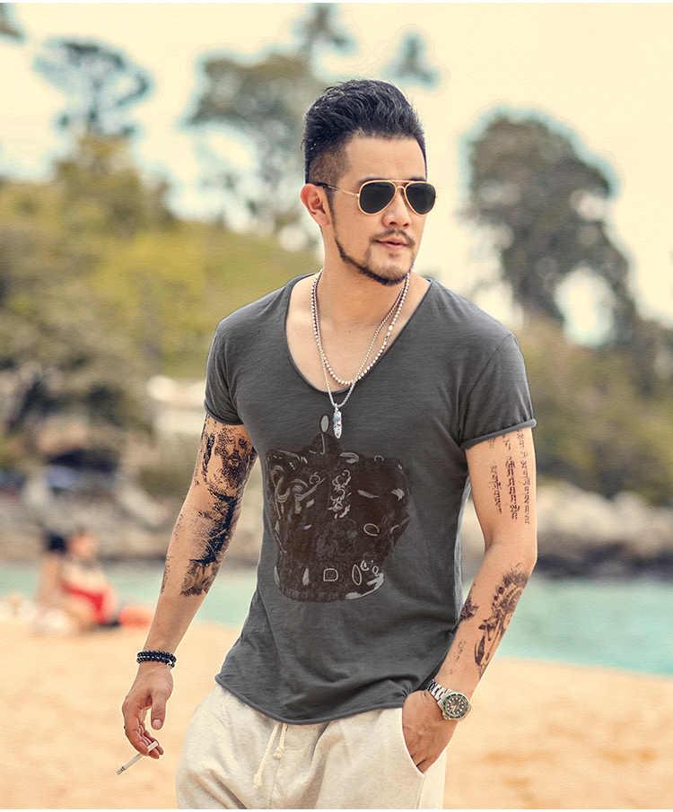 Erkek Üstleri Tees yaz yeni pamuk v yaka kısa kollu tişört erkekler Taç Baskı moda trendleri spor t shirt T2003