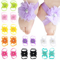 Newborn Toddler First Walkers Chic Flower Barefoot Shoes Baby Girl Elastic Satin Feet Decor Headband Jewelry Photography Props