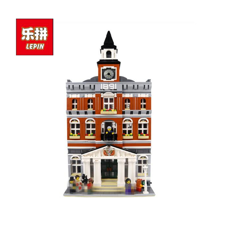 2017 City Street Town Hall Model Building Bricks LEPIN 15003 2859Pcs Creator Kids Toy Compatible Christmas Children Toys Gift lepin city creator 3 in 1 beachside vacation building blocks bricks kids model toys for children compatible with lego gift kid