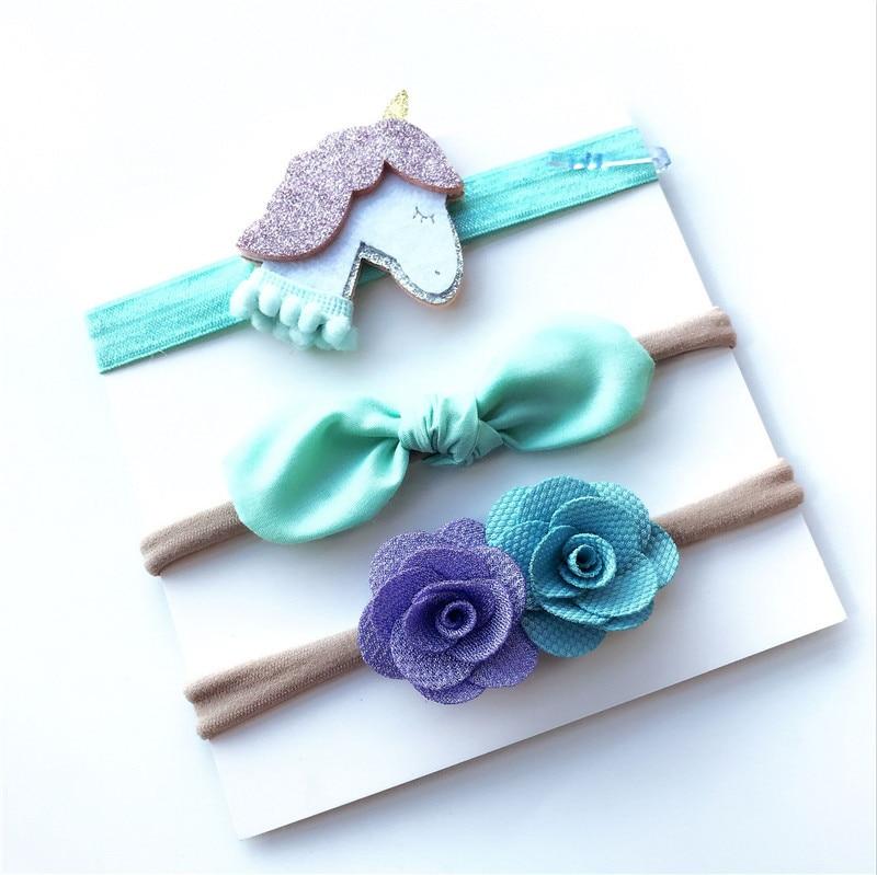 3 PcsSet little girls Unicorn Party Flower Bowknot Nylon Hair Bands Handmade DIY Headband for Kids Headwear Photography Props