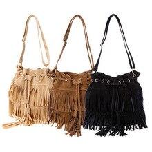 Bolsos 2015 Faux Suede Fringe Tassel Women Shoulder Bag Messenger Bag Vintage Style Girl Crossbody bag mujer bolso flecos