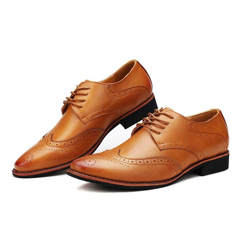 Sapatos Black Dos Brogue Vestido Dedo Pé Misalwa Pontas khaki Vintage Do Couro Oxford brown white Italiano Coleção Sociais Sapato Plana Cáqui Formais Homens qxHxXt