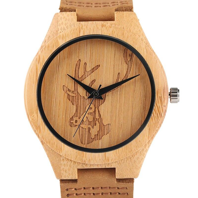 Fashion Top Mens Natural Wood Watch Deer Head Design Genuine Leather Wristwatch Male High Quality Quartz Clock Analog Gift