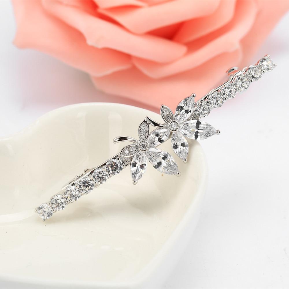 2019 AAA Cubic Zirconia Leaf Hair Clips for Women Fashion Barrette Joyeria Bridal Wedding Accessories F00025 in Hair Jewelry from Jewelry Accessories
