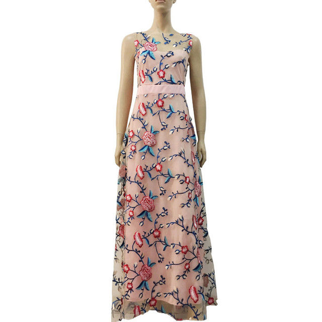 3a560a8cbcd7c Runway Women Floral Embroidery Flower Casual Dress Summer Mesh Maxi ...