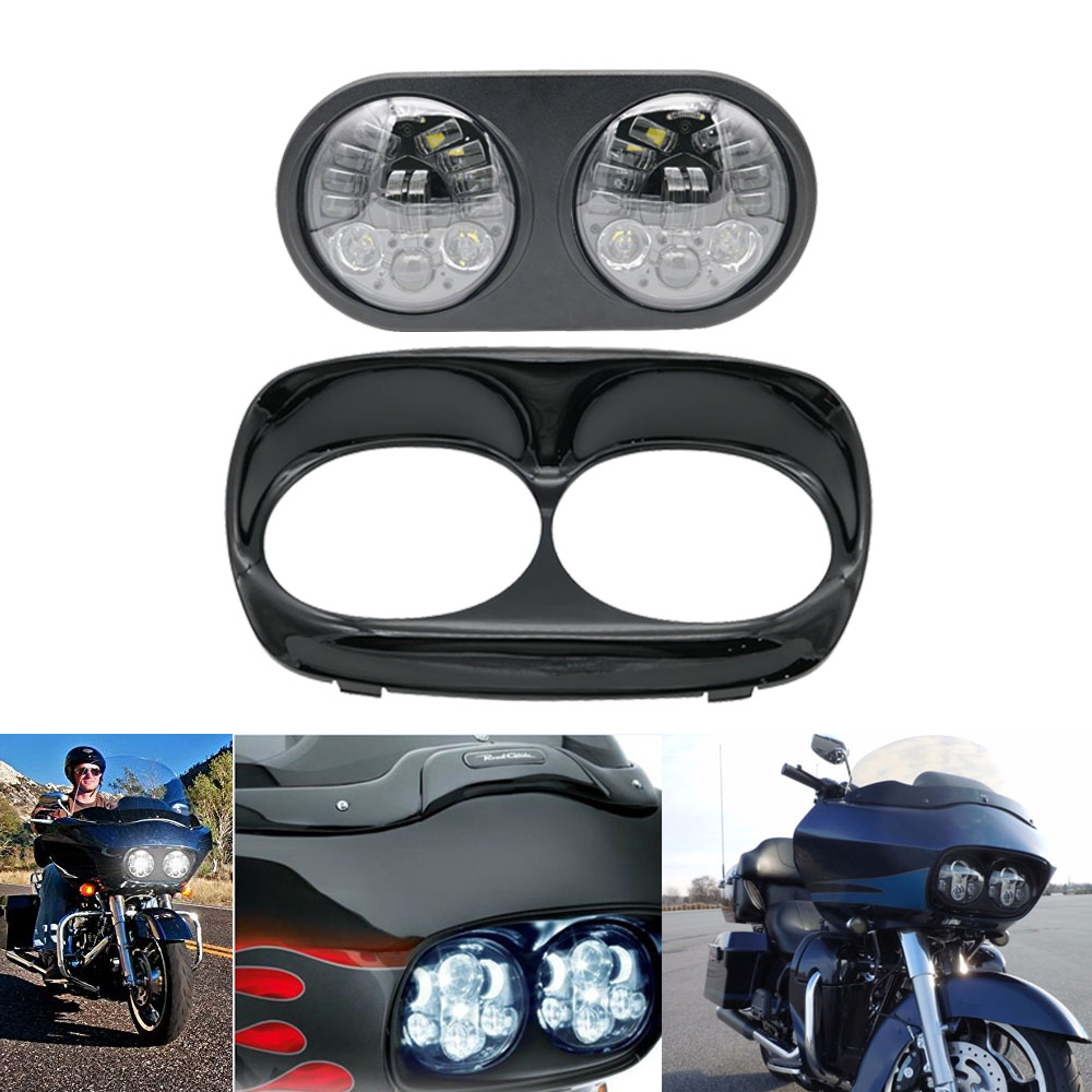 Black Dual LED Headlight For Harley Road Glide Motorcycle 2004 2013 Projector Daymaker LED Leaning Double Turn Left Right Light