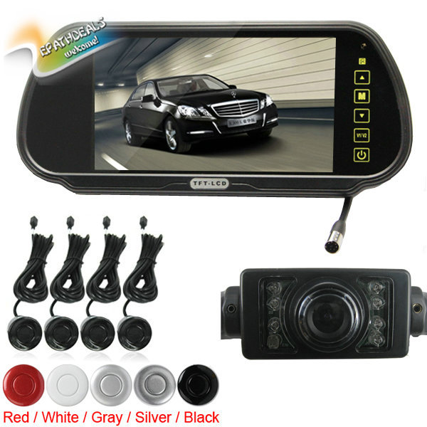 7 Inch Color TFT LCD Auto Car Rear View Mirror Monitor 7'' Vehicle Backup Monitor + 4 Parking Sensors + Rearview Reverse Camera