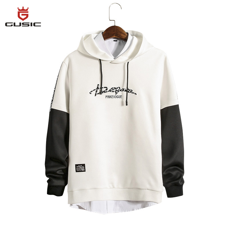 Fashion White Hoodie Gusic Men Hoodies Casual Style Sweatshirts Hip Hop Hoodie Stitching Long Sleeve Tracksuits Tops Sweat Homme