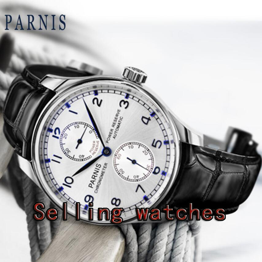 Parnis 43mm black/white/blue dial power reserve ST2542 movement automatic mens watch цена