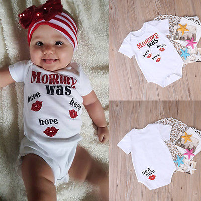 Newborn Kids Baby Mommy Was Here Stylish Comfortable Body One-piece Romper Sunsuit Clothes 0-24M