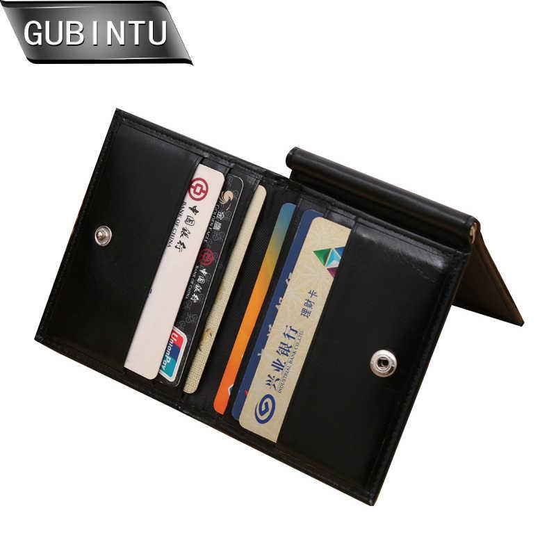 Gubintu 2019 New Uang Klip Dompet Gaya Vintage Uang Klip Dompet Pria Pu Kulit Lipat Tiga ID Kartu Kredit Dompet