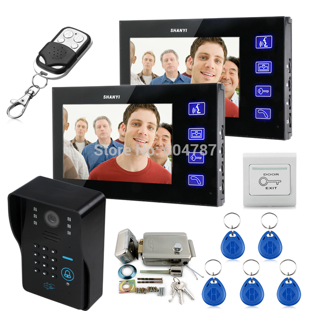 "Touch Key 7"" Lcd Video Door Phone Intercom System Wth IR Camera & Code Keypad Electronic Door Lock 1V2"