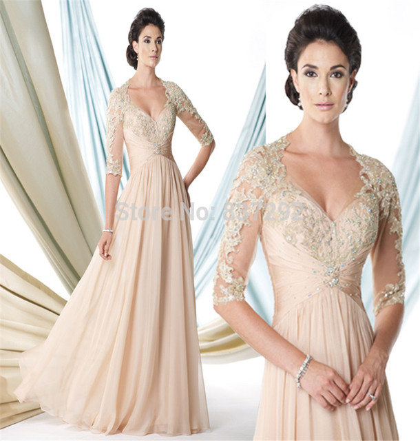 Gorgeous Champagne Long Mother of the Bride Dresses 2015 Lace God Mother  Gowns Half Sleeve Beaded Vestido de Festa 9fd9aec3bec1