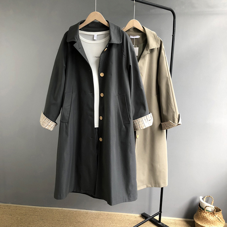Mooirue Spring Women Windbreaker   Trench   Coat Slim Cotton Cuff Buckle Long Harajuku Vintage Cardigan Feminine Coat