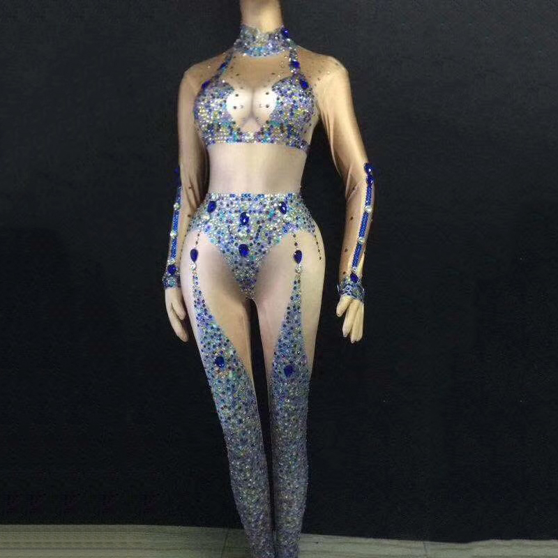 Female Singer Catwalk Show Model Dance Dress DJ Sexy Nude Sparkly Diamonds Elastic Jumpsuit Stage Costume Nightclub Wear  DJ346