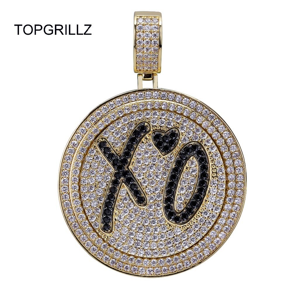 TOPGRILLZ New XO Spinner Pendant Necklace Iced Out Hip Hop/Punk Gold Silver Color Chains For Men CZ Charms Jewelry Gift