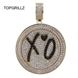 Image 1 - TOPGRILLZ جديد XO سبينر قلادة قلادة مثلج خارج الهيب هوب/الشرير الذهب الفضة اللون سلاسل للرجال تشيكوسلوفاكيا حُليات المجوهرات هدية