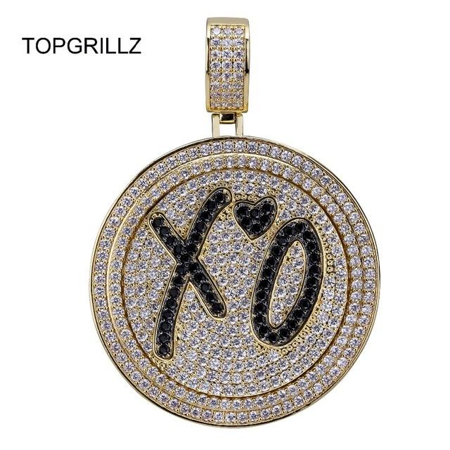 TOPGRILLZ جديد XO سبينر قلادة قلادة مثلج خارج الهيب هوب/الشرير الذهب الفضة اللون سلاسل للرجال تشيكوسلوفاكيا حُليات المجوهرات هدية
