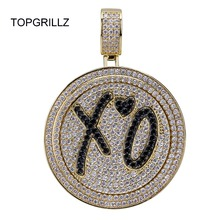 Topgrillz Nieuwe Xo Spinner Hanger Ketting Iced Out Hip Hop/Punk Goud Zilver Kleur Kettingen Voor Mannen Cz Charms sieraden Gift
