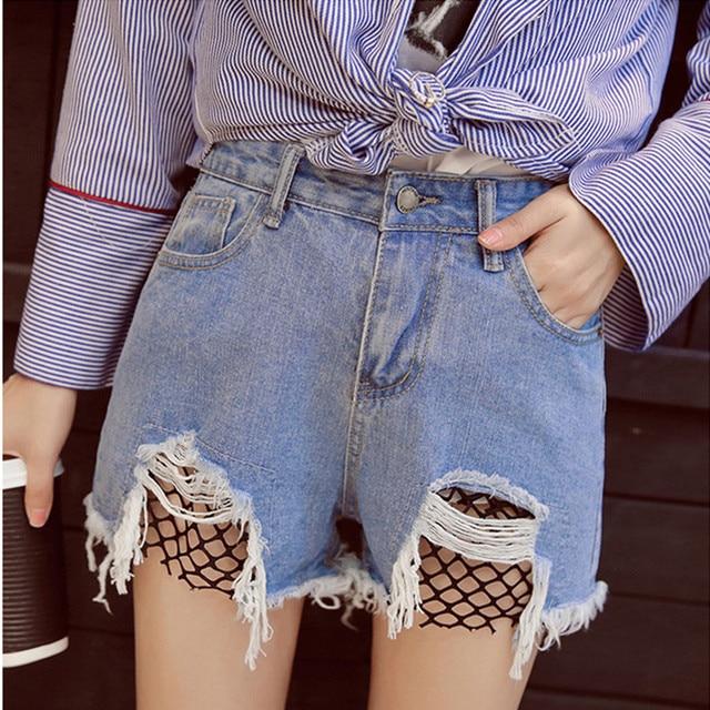 2017 D été Coréenne Résille Shorts Femme Taille Haute Jeans Shorts Femmes  Droite Déchiré Denim efda35f196f