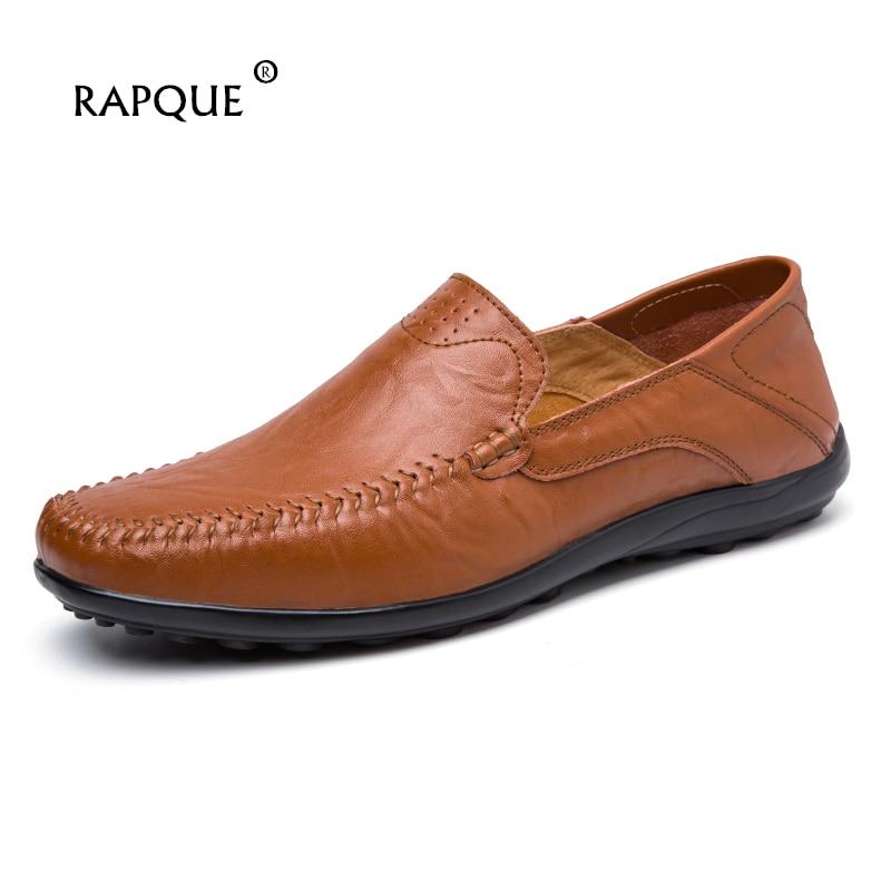 Herrskor Casual äkta läder sommarloffar lägenheter bekväm sko - Herrskor