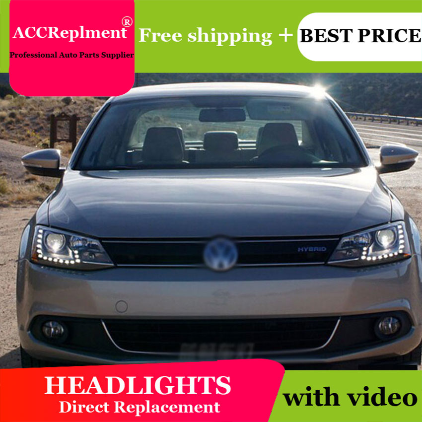 AUTO PRO 2011-2014 For vw jetta mk6 headlights car styling For vw jetta head lamps parking LED DRL+ H7 HID kit +Q5 bi xenon lens auto part style led head lamp for porsche 997 series led headlights for 997 drl h7 hid bi xenon lens angel eye low beam