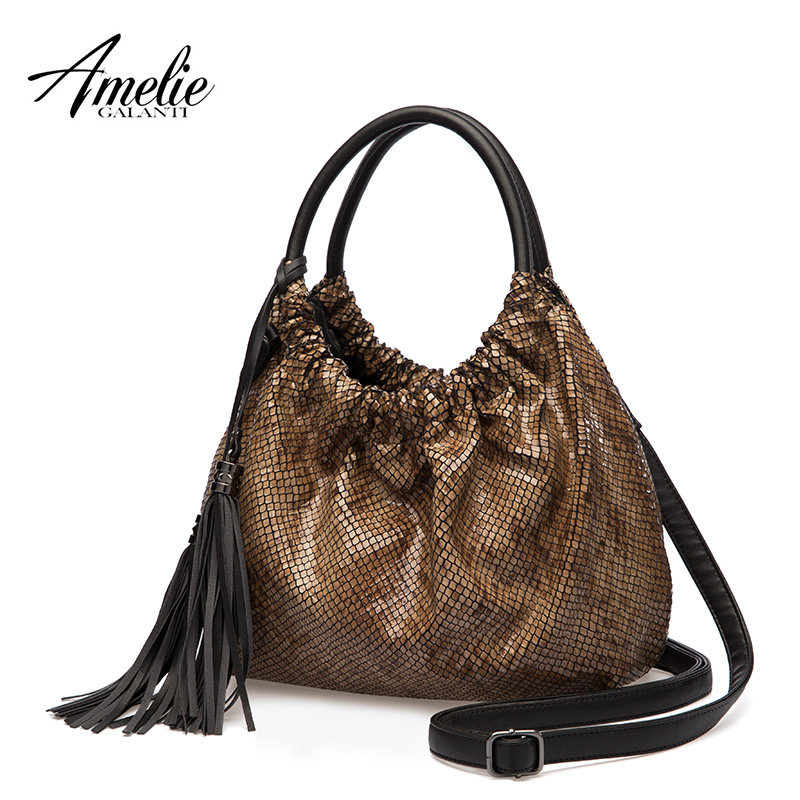 AMELIE GALANTI brand women shoulder bag famous design half moon casual solid handbag zipper soft fashion bags black blue grey