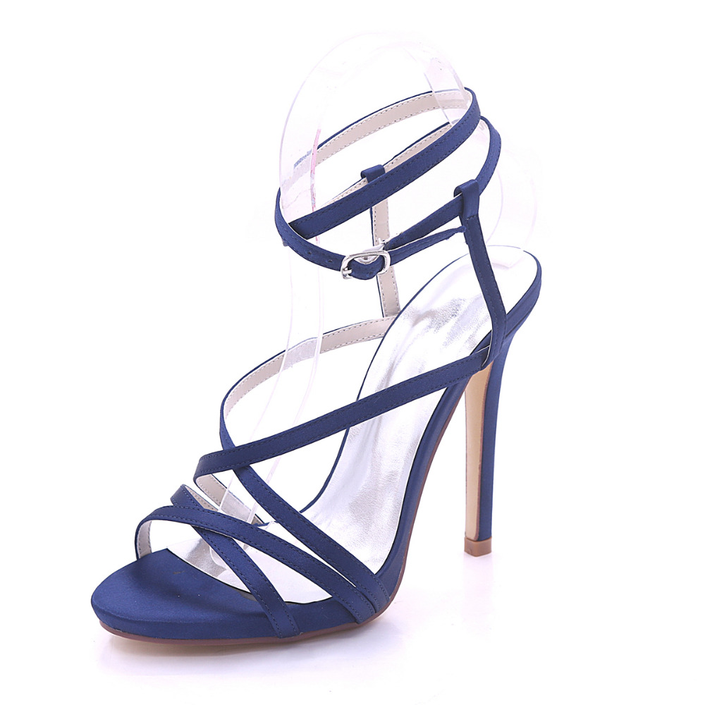 Creativesugar woman sandals satin summer dress shoes high heels party prom fashion show crossed bands lady shoes navy blue white creativesugar satin d orsay pearl