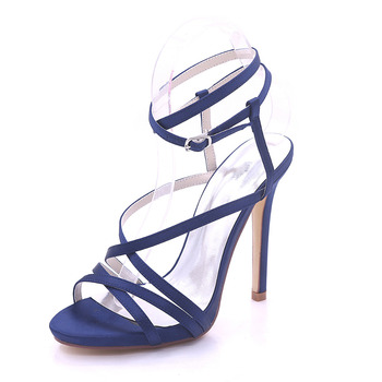 Creativesugar woman sandals satin summer dress shoes high heels party prom fashion show crossed bands lady shoes navy blue white