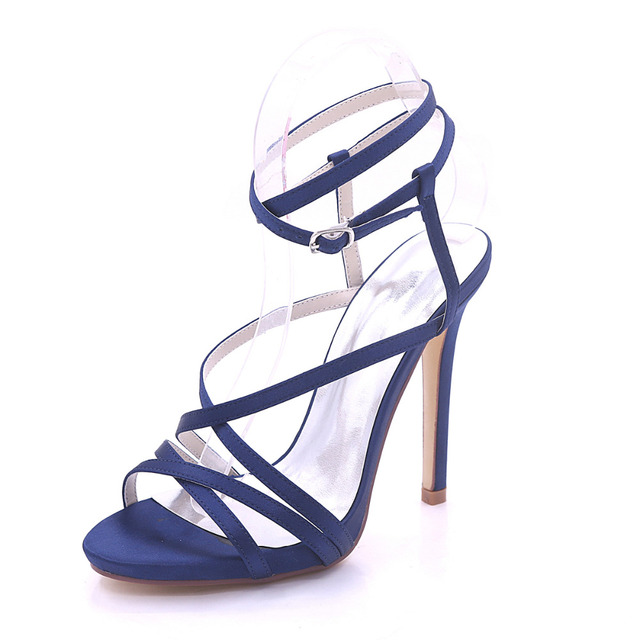 a3087720a1dc6 Creativesugar woman sandals satin summer dress shoes high heels party prom  fashion show crossed bands lady shoes navy blue white